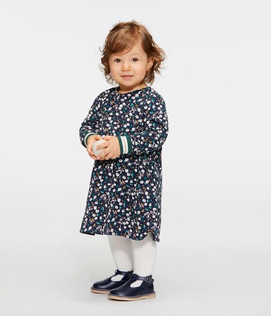 Vestido de manga larga estampado para bebé niña azul Smoking / blanco Multico