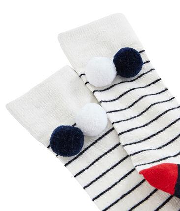 Calcetines altos infantiles para niña blanco Marshmallow / azul Smoking