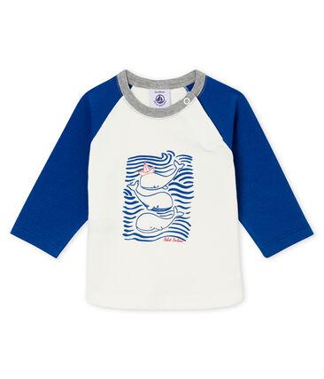 Camiseta para bebé niño blanco Marshmallow / azul Limoges