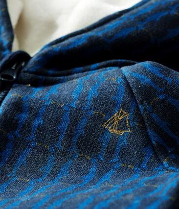 Sudadera con capucha de muletón estampada y forro de sherpa para bebé niño azul Smoking / blanco Multico Cn