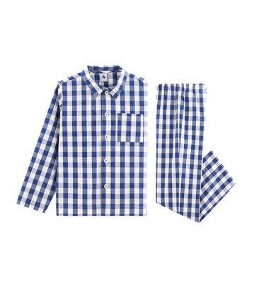 Pijama de sarga para niño azul Medieval / blanco Marshmallow