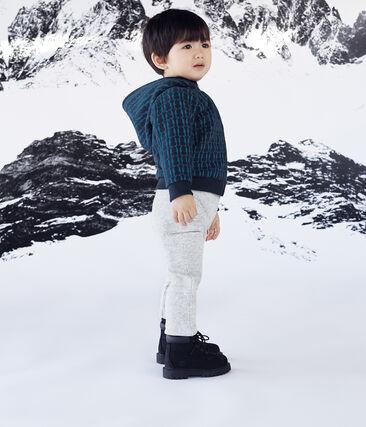 Sudadera con capucha de muletón estampada y forro de sherpa para bebé niño azul Smoking / blanco Multico