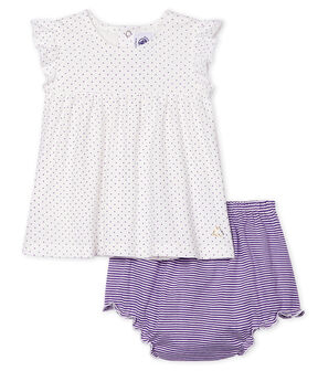 Conjunto de dos piezas para bebé niña violeta Real / blanco Marshmallow