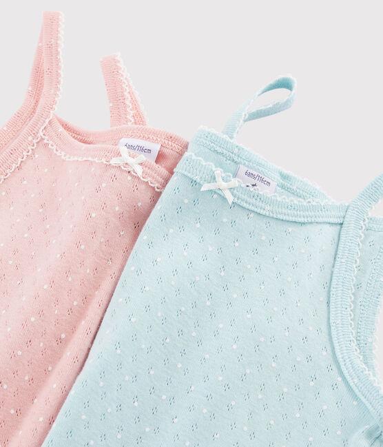 Lote de 2 camisas de tirantes con calado para niña lote .