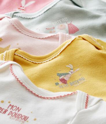 Lote de 5 bodis de manga larga para bebé niña
