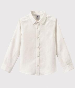 Camisa de popelina de niño blanco Ecume