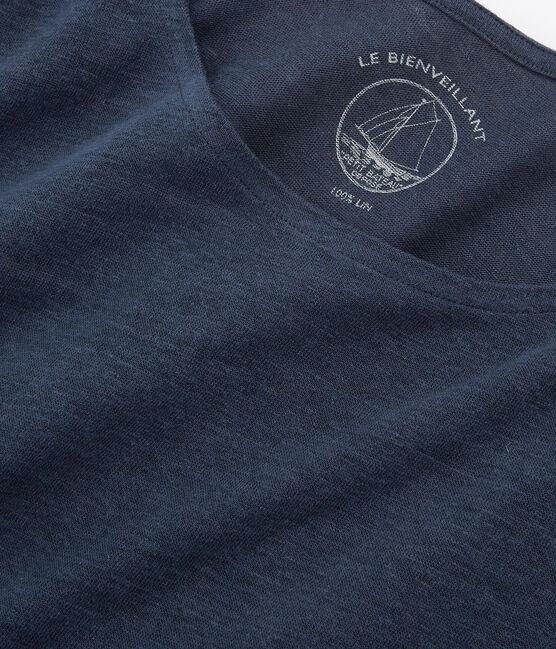 Camiseta manga larga de lino para mujer azul Haddock