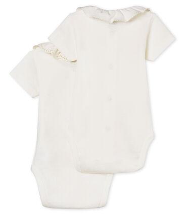 Lote de 2 bodis manga corta con cuello para bebé niña