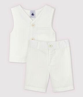 Conjunto de dos piezas de popelina de rayas de bebé niño blanco Marshmallow / blanco Multico