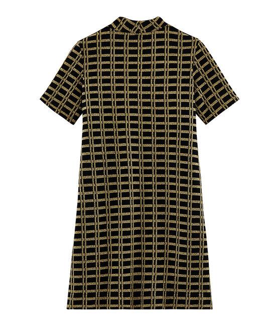 Vestido de manga corta con cuadros de mujer lote .