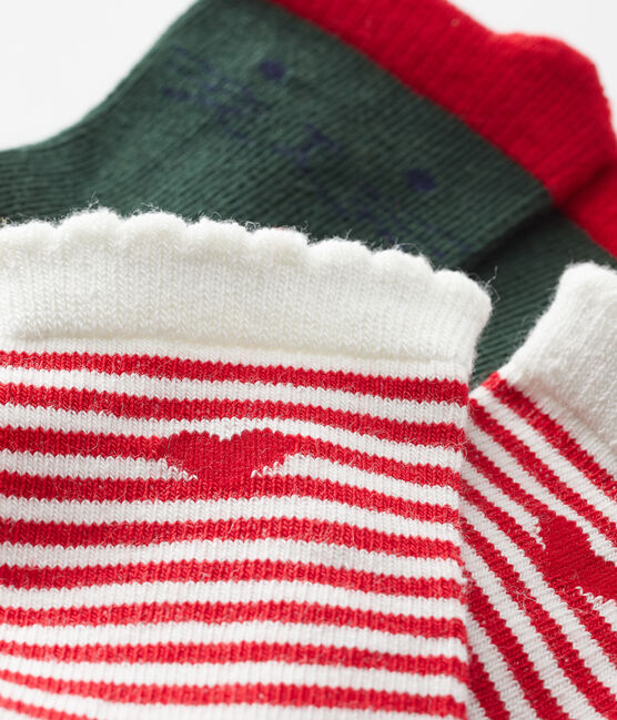 Lote de 2 pares de calcetines para bebé niña verde Sousbois