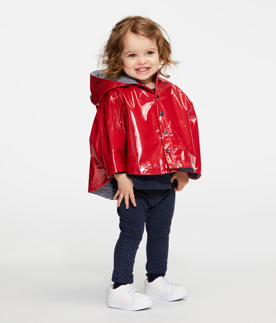Capa de lluvia reforzada para bebé niña rojo Terkuit