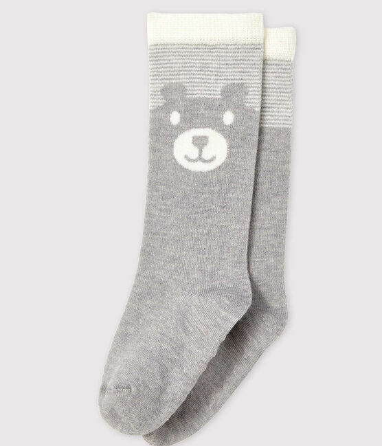 Calcetines altos para bebé gris Beluga / blanco Marshmallow