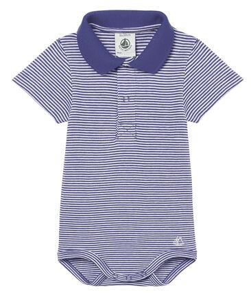 Polo manga corta cuello polo milrayas para bebé niño azul Riyadh / blanco Marshmallow