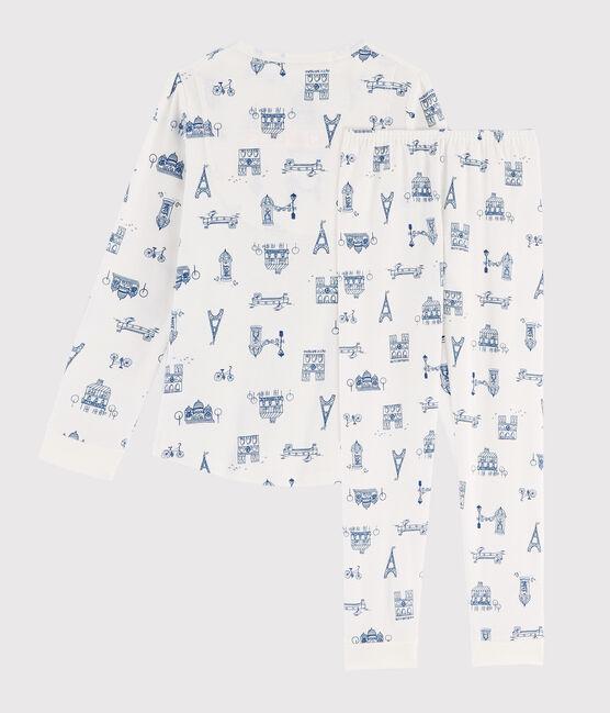 Pijama infantil de niño con estampado París de punto blanco Marshmallow / azul Major