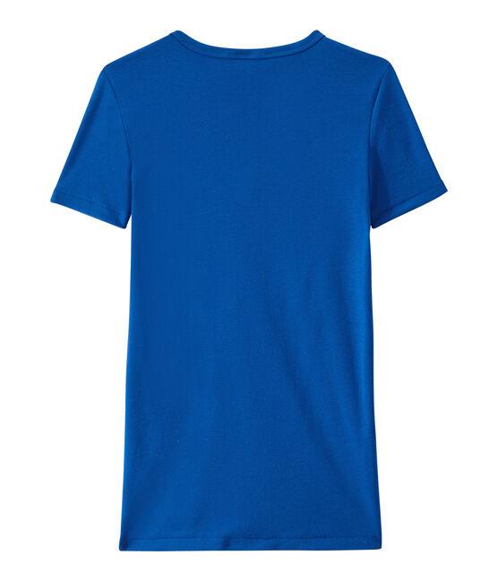 Camiseta con cuello en pico, de punto original, para mujer azul Perse