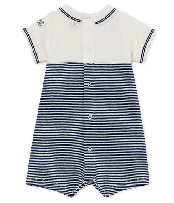 Mono corto para bebé niño azul Medieval / blanco Marshmallow