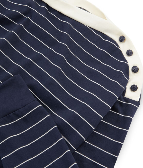 Sudadera de manga larga para mujer azul Smoking / beige Coquille