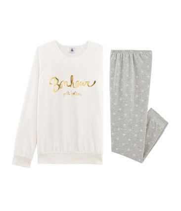 Pijama de niña de terciopelo gris Beluga / blanco Marshmallow