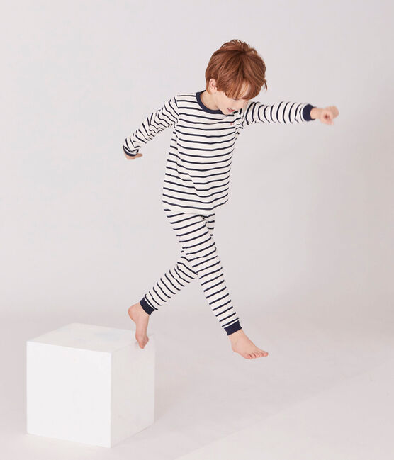Pijama de rayas para niño beige Coquille / azul Smoking
