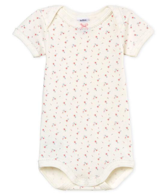 Body manga corta para bebé niña blanco Marshmallow / blanco Multico