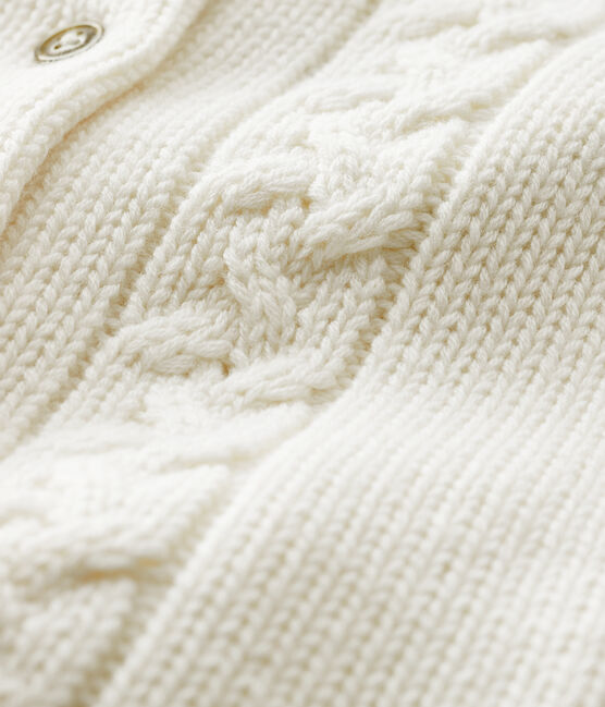 Cárdigan de lana y algodón para bebé blanco Marshmallow