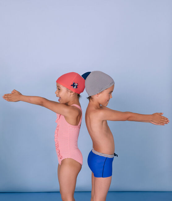 Gorro de baño infantil para niño azul Abysse / blanco Lait