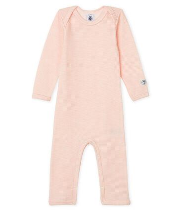 Body largo para bebé de lana y algodón rosa Charme / blanco Marshmallow Cn