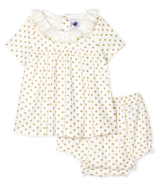 Conjunto de dos piezas para bebé niña blanco Marshmallow / amarillo Or