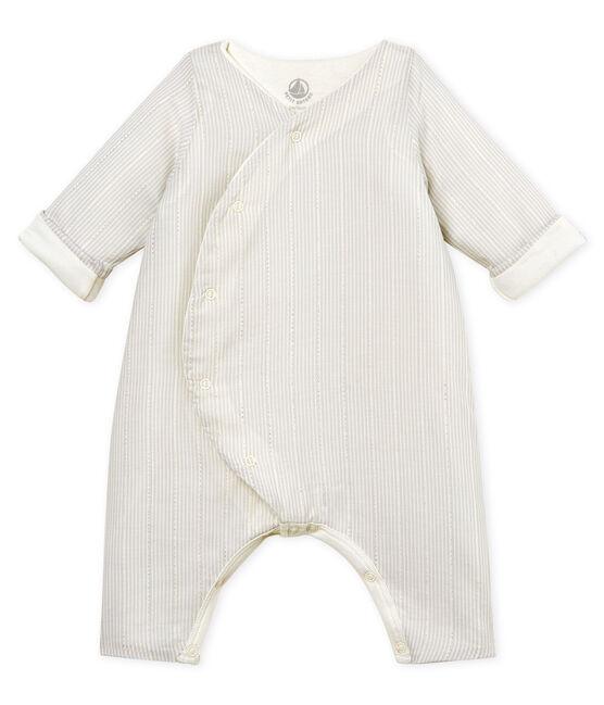 Mono largo de rayas para bebé niño blanco Marshmallow / beige Perlin