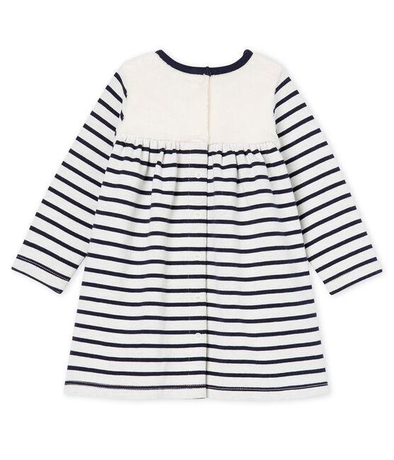 Vestido de manga larga de rayas para bebé niña blanco Marshmallow / azul Smoking Cn