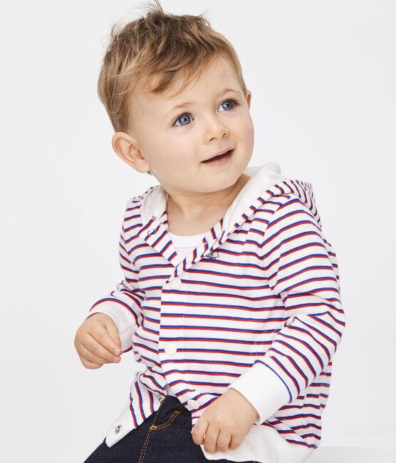 Sudadera con capucha a rayas para bebé niño blanco Marshmallow / blanco Multico