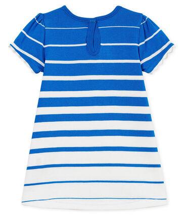 Vestido manga corta de rayas para bebé niña azul Riyadh / blanco Marshmallow