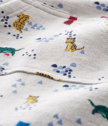Mono largo estampado para bebé niño gris Beluga / blanco Multico