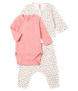 Conjunto de tres piezas para bebé niña de punto blanco Marshmallow / blanco Multico