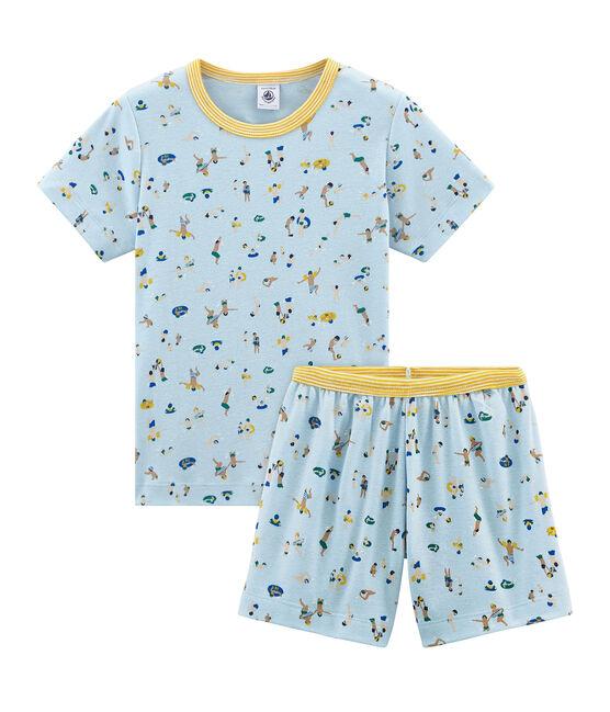 Pijama corto de punto para niño azul Toudou / blanco Multico