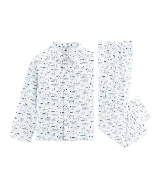 Pijama de tela para niño blanco Marshmallow / azul Shadow