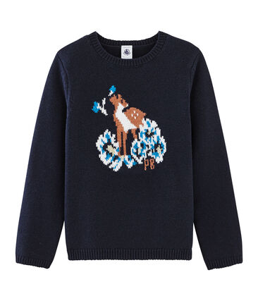 Jersey de niña azul Smoking / blanco Multico