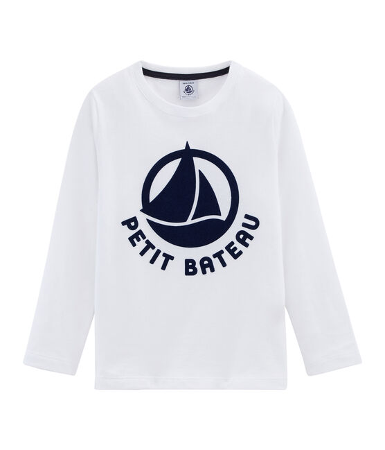 Camiseta manga larga infantil mixta flocada blanco Marshmallow