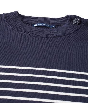 Jersey azul marino de rayas estampadas azul Smoking / blanco Lait