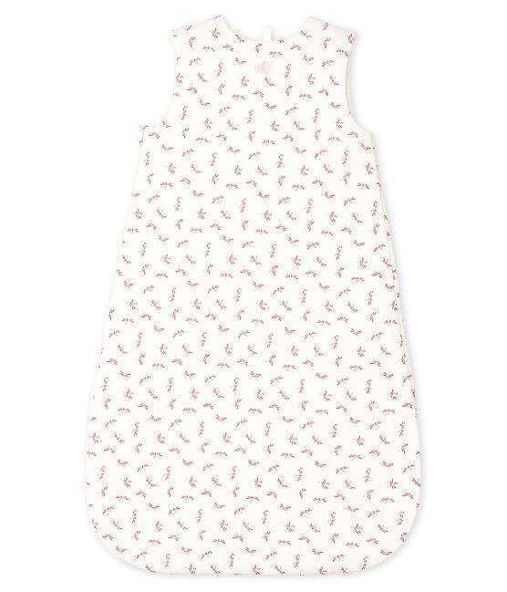 Saco de punto para bebé blanco Marshmallow / rosa Groseiller