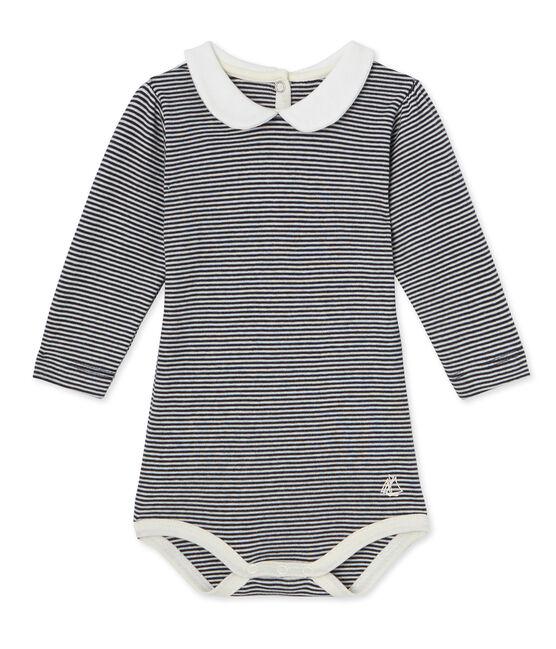 Body con cuello Claudine con la milrayas para bebé niña azul Smoking / blanco Marshmallow