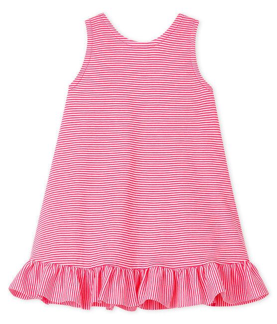 Vestido sin mangas para bebé niña de punto rosa Geisha / blanco Marshmallow