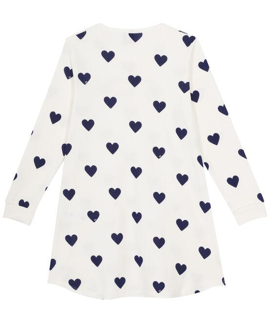 Camisón para chica de punto blanco Marshmallow / azul Medieval