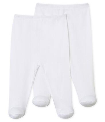 Dos pantalones con pies para bebé blanco Ecume