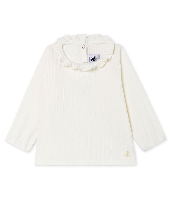Blusa de manga larga lisa para bebé niña blanco Marshmallow