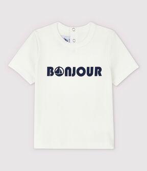Camiseta de algodón para bebé. blanco Marshmallow