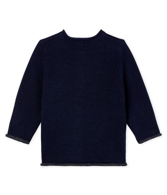 Cárdigan básica de punto de lana y algodón para bebé niña azul Smoking