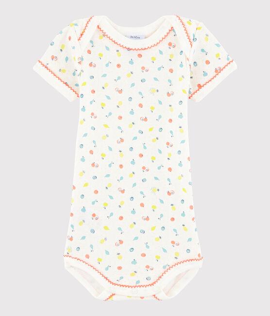 Bodi de manga corta de bebé niña blanco Lait / blanco Multico
