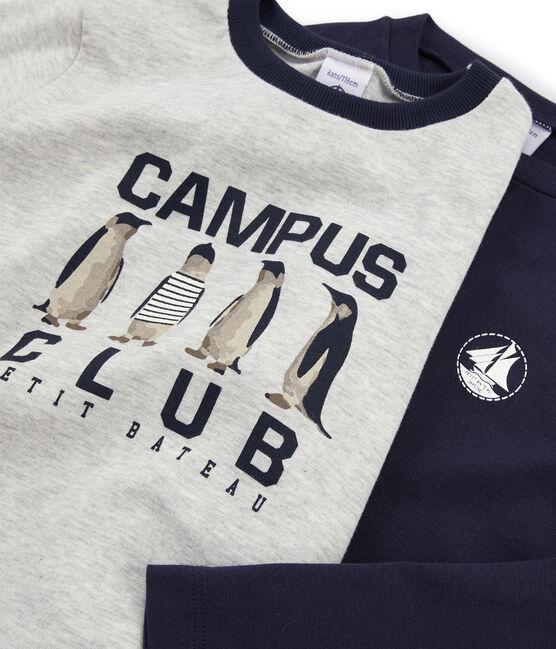Juego de 2 camisetas de niño: serigrafiada + lisa lote .